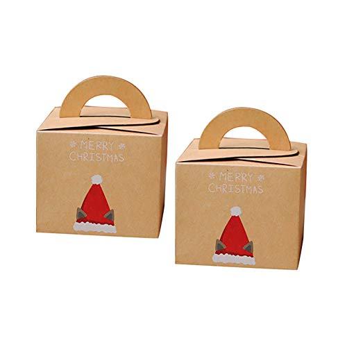 Homeofying Geschenk-Box aus Kraftpapier für Weihnachten, Kaninchen, Katze, Party, Festival, Verpackung, Süßigkeitentüte mit Deckel, 2 Stück