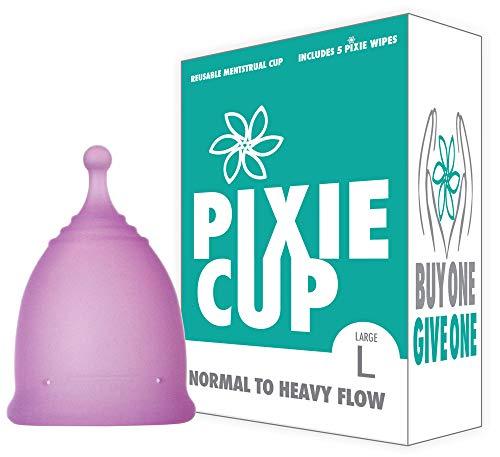 Pixie Menstrual Cup Nº 1 para más cómodo copa menstrual y Mejor Remoción Stem Todas las demás marcas cada taza de adquirirse uno se le da a una mujer necesitada grande