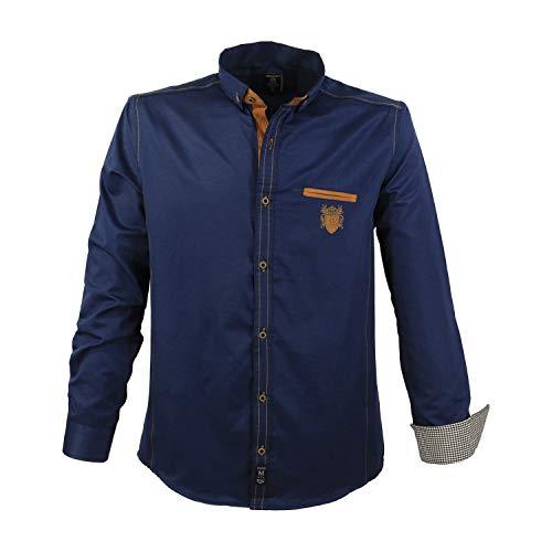 Lavecchia camicia da uomo trendy grandi taglie navy, dimensione:5xl