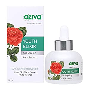 OZiva Youth Elixir Anti-Ageing Face Serum (with Phyto Retinol, Rose & Tiare Flower) for Wrinkle Reduction & Skin Tightening