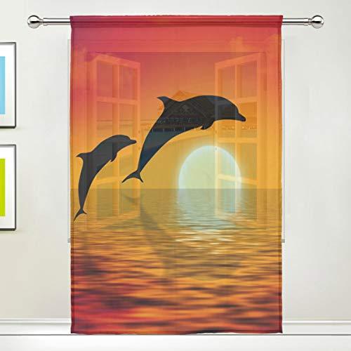ALARGE Fenstervorhang, transparent, mit Delfin-Muster, Voile-Vorhang, Dekoration, Küche, Wohnzimmer, Schlafzimmer, Türfenster, 1 Stück, Multi, 55