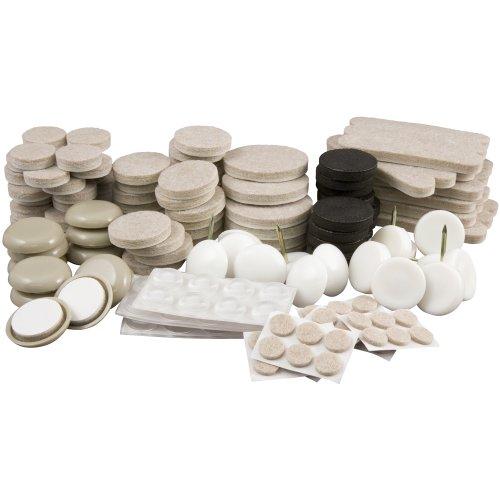 Move in Oberfläche Schutz Starter Kit, wiederverwendbar Schieberegler, Türstopper, Stoßstangen & Filz–61teilig, transparent, 4500095N