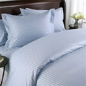 Egyptian Cotton Factory Store Luxurious Seven (7) Piece Set, Blue Damask Stripe, Double Size, 4Pc Bed Sheet Set & 3Pc Duvet Set, 1000 Thread Count Ultra Soft Single-Ply 100% Egyptian Cotton, 1000Tc Sheet & Duvet Set Includes Two (2) Shams & Two (2) Pillow Cases