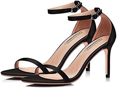 GAIHU Zapatos Nude Color Negro 8.5cm, tacones altos, una hebilla con multa Sexy tacones, sandalias, Casual Estudiante