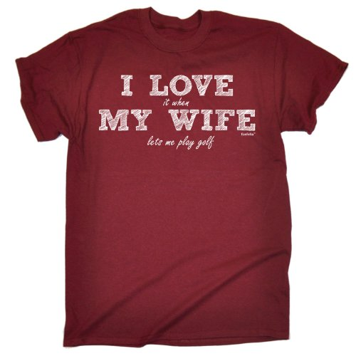 123t Slogans Men's I Love IT When My Wife Lets Me Play Golf Men's T-Shirt