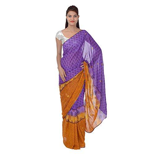 Saundarya Sarees Women Chiffon Printed Brown and Purple Saree