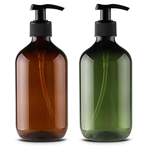 Alledominio, 2 Botellas de plástico vacías rellenables de 500 ml, dispensador de jabón líquido para el Cuerpo y la Crema de Ducha (marrón y Verde)