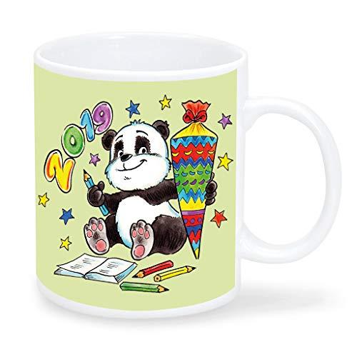 Wandtattoo Loft Kinderbecher Süßer Panda mit Schultüte und Wunschnamen - Tasse Grün