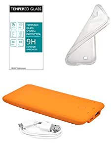 NIROSHA Coolpad Note 3 Mobile Car Kit Combo -Tempered Glass Screen Guard + Transparent Soft Back Cover + Ultra Slim 4000Mah Powerbank