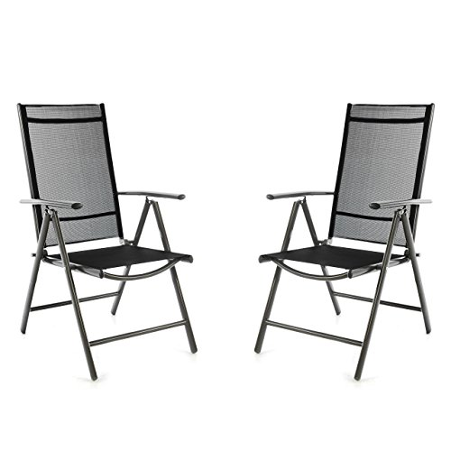 Nexos SC00061_SL2_JM 2er Set Klappstuhl schwarz Aluminium 7-Fach-verstellbar Gartenstuhl mit Armlehne witterungsbeständig leicht stabil Rahmen anthrazit Balkon Terrasse,
