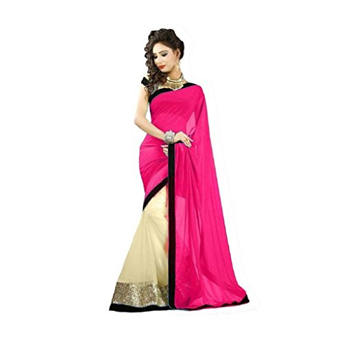 Tryme Fashion Women Net Saree(Pink_Girls Fancy Saree 20_Free Size)