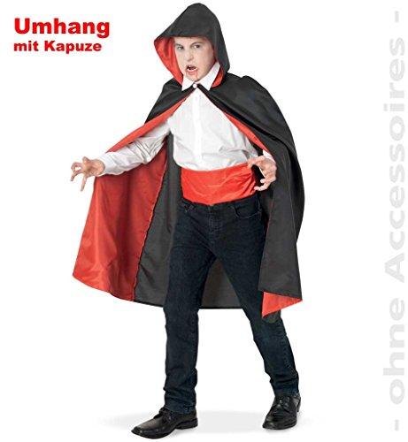 Feuer Kostüm Magier (Vampir Umhang Cape mit Kapuze für Kinder Größe)