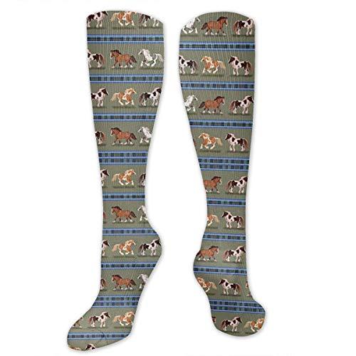 CVDGSAD Gypsy Horse Stripe Colorful Mermaid Scales Knee High Long Socks Athletic Sports Tube Stockings for Running Football Soccer Gypsy Thread