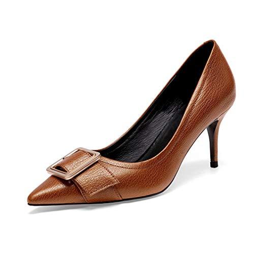 Gfphfm Damenschuhe, Leder-Platz Buckle Pointed Fine Heel Shallow Single Schuhe Damen Spring/Fall High Heels (Bronze Leder-heels)