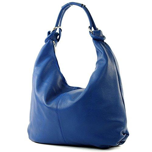 modamoda de - ital. Ledertasche Damentasche Hobo Bag Schultertasche Shopper Groß Leder 337 Blau
