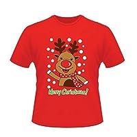 Womens Mens Xmas T Shirt Christmas Unisex Santa Reindeer Snowman Novelty Tee Top (Reindeer, Large)
