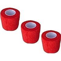 3 Stück Kohäsive Pflaster selbstklebend 5 cm x 4 m Fixierbinde in Folie F. Rieger (rot) preisvergleich bei billige-tabletten.eu