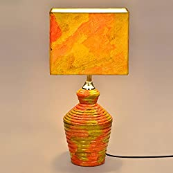 ExclusiveLane Hand Painted Rectangular Terracotta Dcor Lamp Set (42 cm x 24 cm x 17 cm, yellow)