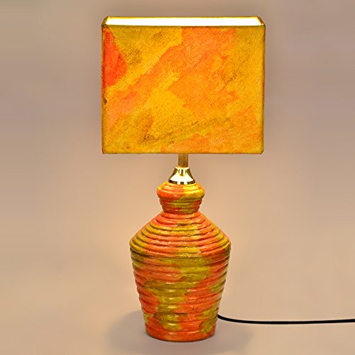 ExclusiveLane 15 Inch Handpainted Rectangular Shade Terracotta Décor Lamp- Gift Item