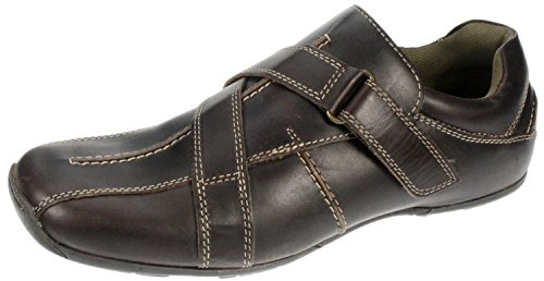 Red Tape Confort antidérapant sur Velcro Chaussures en cuir Brown 267