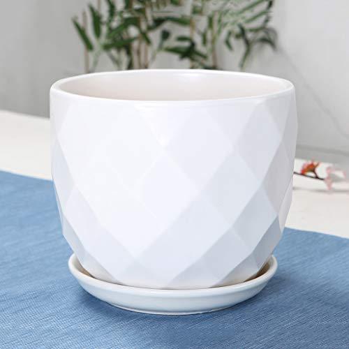 HLJ Salon délicat Plante Pot De Fleur Maison De Mode Pot De Fleur en Céramique Simple Balcon Créatif Pot De Fleur (Size : XL:21 * 19cm)