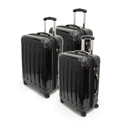 Xavion® 3-tlg. Hartschalen-Kofferset aus Polycarbonat/ABS - Trolley, Koffer, Reisekoffer, in SCHWARZ