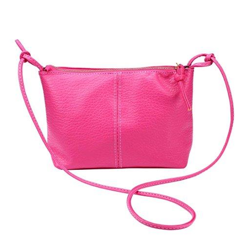 Ularma Umhängetasche Damen PU Leder Reißverschluss Einfach Praktische Handtasche Ledertasche Dünne Schultertasche Rosa