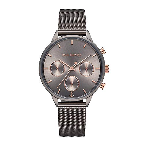 PAUL HEWITT Armbanduhr Damen Everpulse Line Grey Metallic Sunray - Damen Uhr in Grau, Damenuhr mit Edelstahlarmband in Grau, graues Ziffernblatt