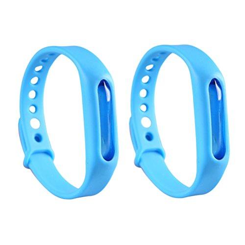 lioobo braccialetti repellenti anti-zanzare della pianta del braccialetto dei capretti della zanzara dei capretti di 2pcs olio essenziale non tossico bottone registrabile dei polsini (blu)