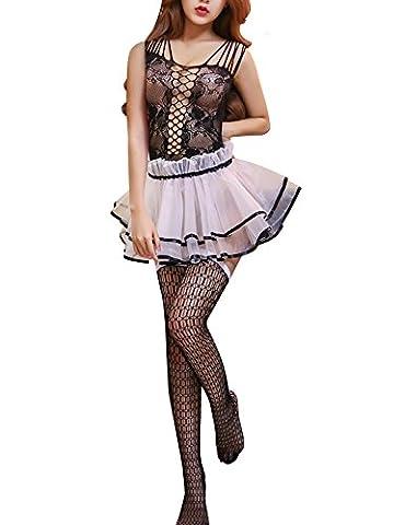 Yidarton Damen Lingerie Ärmellos Kleider Sexy Unterwäsche Erotik Set Negligee Spitzen Reizwäsche Dessous Nachtkleid (Schwarz)