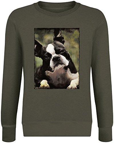 Neugieriger Boston Terrier - Curious Boston Terrier Sweatshirt Jumper Pullover for Men & Women Soft Cotton & Polyester Blend Unisex Clothing X-Large Boston Terrier Sweatshirt
