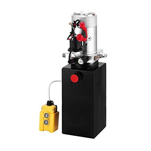 ZauberLu 12V/DC Hydraulikpumpe Einfachwirkend Kipperpumpe Hydraulikaggregat 8L Metallbehältertank Antriebseinrichtung für Auto(8L Einfachwirkend Metallbehälter)