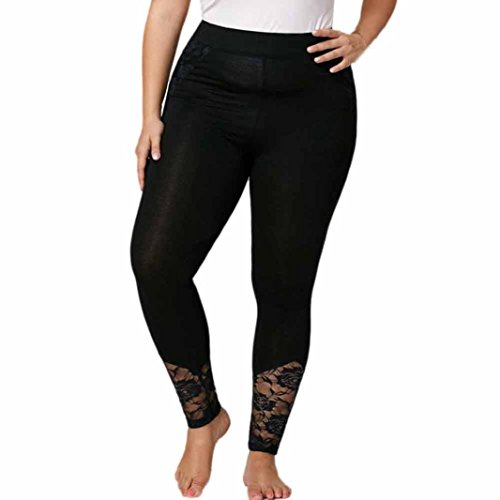 Damen Sport Leggings/ Yoga Pants,Frauen {Plus Size} Elastische Leggings Spitze Sexy Sporthose Sporthose (3XL) (Plus-size-yoga)