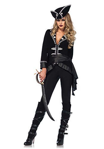 Leg Avenue 85581 4 teilig Set Sieben Weltmeeren Schönheit, Damen Karneval Kostüm Fasching, M, schwarz/silber