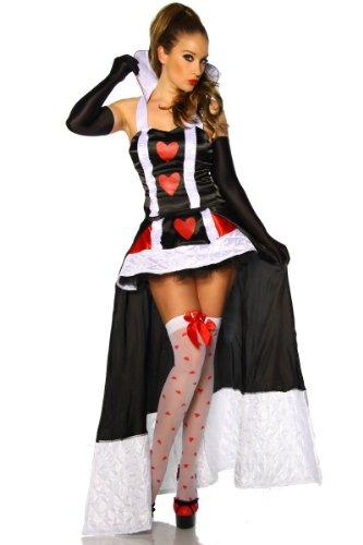 Yourdesignerz Alice im Wunderland Kostüm Outfit Damen schwarz-weiß-rot S-M Verkleidung sexy mit Schleppe, Oberteil mit Stehkragen (Fairy-mini-rock)