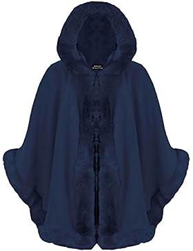 Baleza Mujer Celebrity Piel Sintética de italiano con capucha Wrap Puncho capa señoras manto Coat