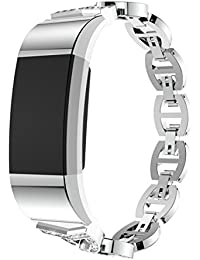 Saingace Luxury Crystal Stainless Steel Metal Wristband Strap Band Replacement Bracelet for Fitbit Charge 2 (Silver)