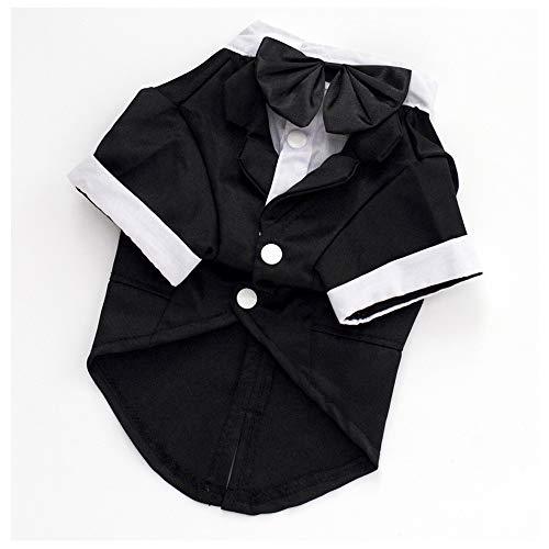 Hunde & Katzen Black & White Tuxedo Suit Dress Up Outfit Jumper Kostüm Bow Tie Hochzeits-Suit Clothes Formal Party Outfits-4 Sizes (White Kostüm Party)