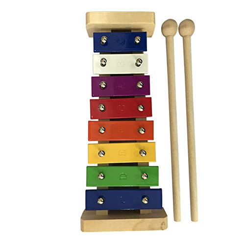 Man9Han1Qxi 8Key Wooden Aluminium Glockenspiel Xylophone Neuheit Funny Toy Music Percussion Instruments Multicolor