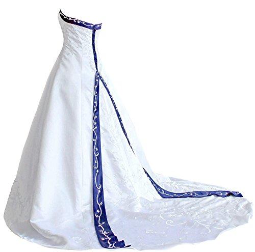 Faironly H9 Frauen trägerloses Stickerei Hochzeitskleider (S, Weiß Blau)