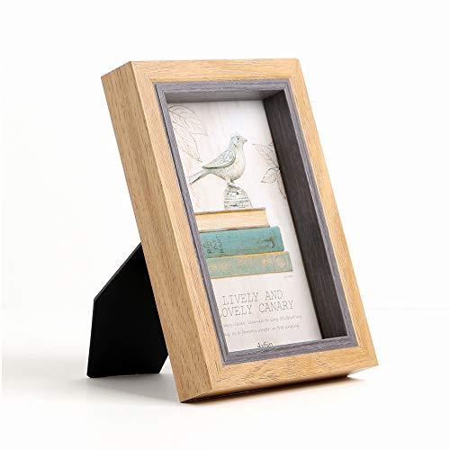 Giftmon Bilderrahmen aus Holz mit Staffelei im rustikalen Stil, 10 x 15 cm, Braun 4x6 hell -