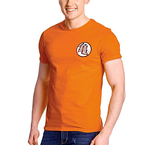 Dragon Ball Herren T-Shirt Kaio Kame Symbol Distressed Baumwolle orange - S (T-shirt Distressed Baumwolle)