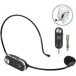 Tonor Microphone Casque UHF Micro Serre-Tête sans Fil avec 10 Canaux Rechargeable avec Récepteur pour Amplificateur de Voix Système de Son Audio Haut-Parleur Externe Camera DSLR
