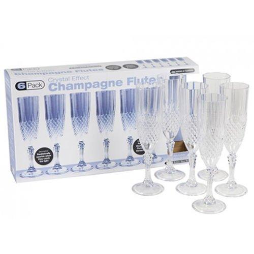 Set von 6Kunststoff Kristall Effekt 200ml Champagner Sekt Prosecco Glas Flöte (Sektgläser Funkeln)