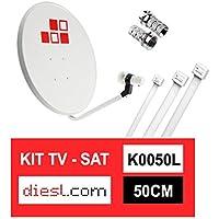 Diesl - Kit Parabólica 50cm + LNB + Conectores + 10x Bridas