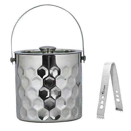 Kosma Designer Ice Bucket doppelwandig Edelstahl | Ice Cube Eimer | Ice Eimer-15x 18cm (Bubble Effekt) 15 octagonal