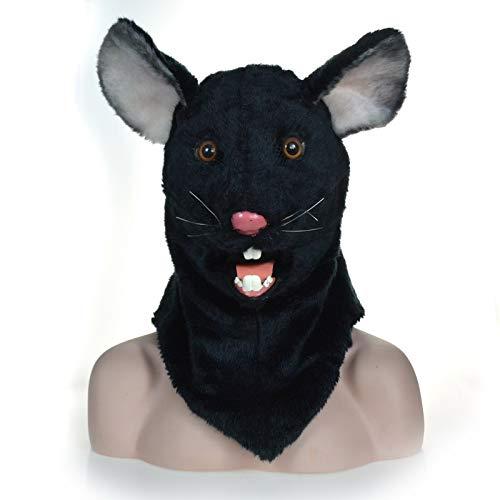 Cat Kostüm Jugendliche Für Black - IENPAJNEPQN Schwarzer Stoff Maus Kopf Maske beweglichen Mund Karneval Cosplay Tier Kostüm Masken (Color : Black)