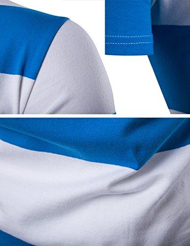 YCHENG Herren Freizeit Basic T-Shirt mit Rundhalsausschnitt Oberteile Slim fit Blau 2