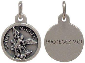 1.5cm ROUND St Saint MICHAEL Medal Chain & Box Pendant Charm Medallion