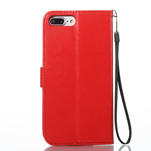 iPhone 7 Plus Coque, Voguecase Étui en cuir synthétique chic avec fonction support pratique pour Apple iPhone 7 Plus 5.5 (Papillons VI-Papillons vert/Gris)de Gratuit stylet l'écran aléatoire universel Papillons VI-Papillons noir/Rouge